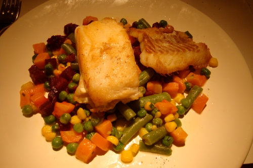 The entree: grilled fish over sauteed veggies. Delish~