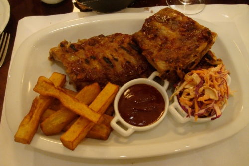 Star's entree: smoked ribs with sweet potato fries