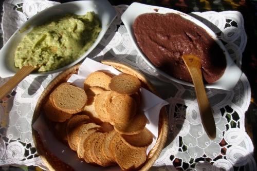 guacamole and tapenade spread