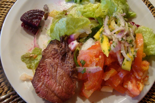 Second plate: more steak and salad
