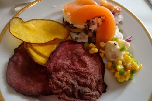 Plate #1: beet and mango chips, corn salad and smoked salmon over mini panini