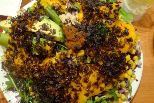 I've been having this balanced plate for lunch several times a week. Love it! 5 types of veggies, 1 cup of brown rice, 1 tbsp miso, seaweed flakes and pumpkin sauce! Oh... this one has 1 sliced avocado for some extra good FAT.