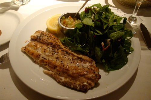 Star ordered grilled fish with green salad. I had a big bite, it was delicious too!