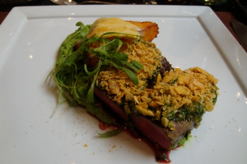 Star's: roasted lamb with pesto, grilled polenta and green peas puree